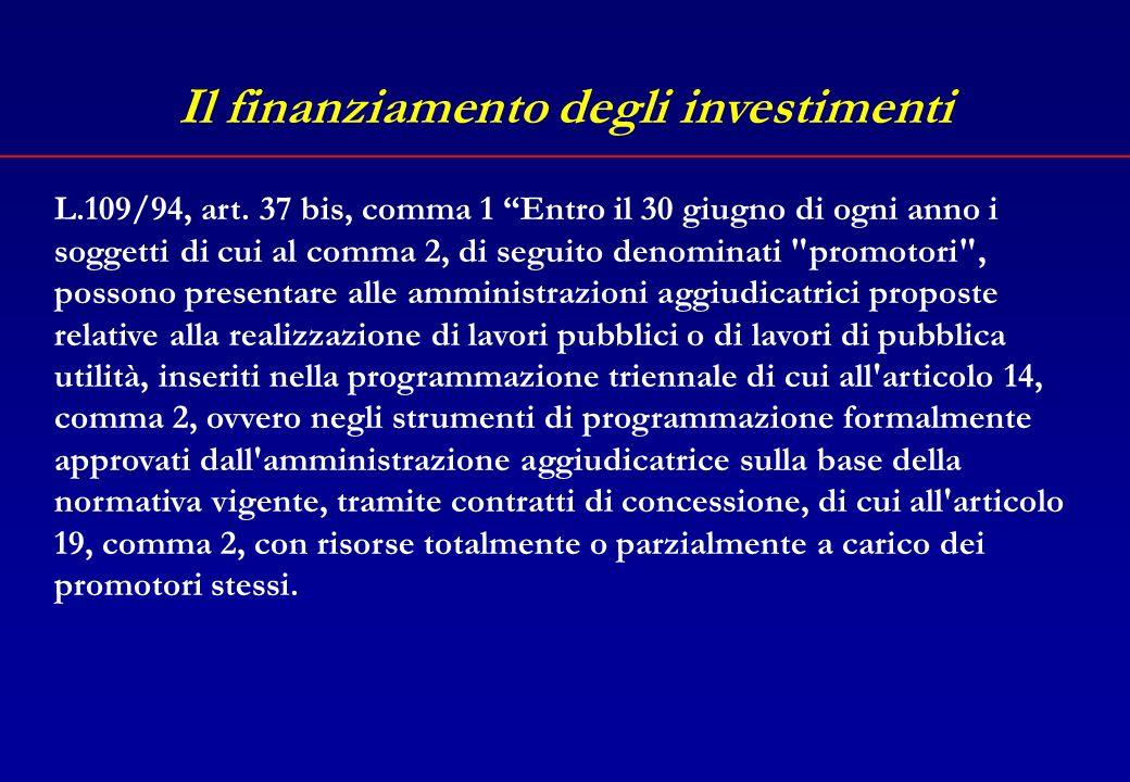 Il finanziamento degli investimenti In particolare, le opere pubbliche possono essere finanziate attraverso: il finanziamento pubblico su progetti (finanziamenti speciali) il finanziamento privato su progetti (project financing)