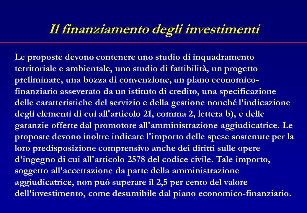 Il finanziamento degli investimenti L.109/94, art.