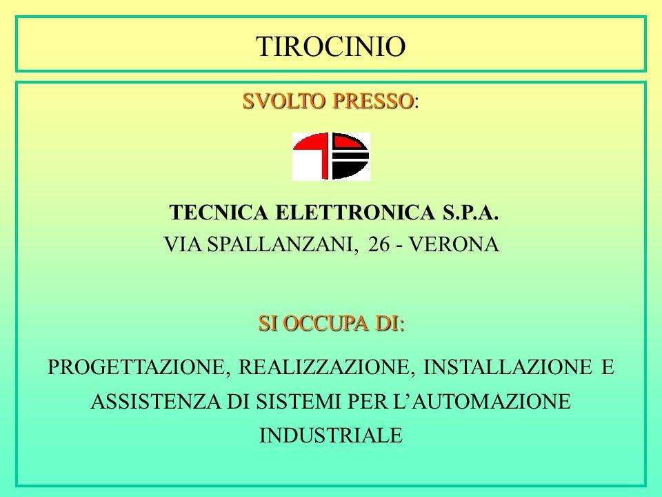 TIROCINIO SVOLTO PRESSO: TECNICA ELETTRONICA S.P.A.