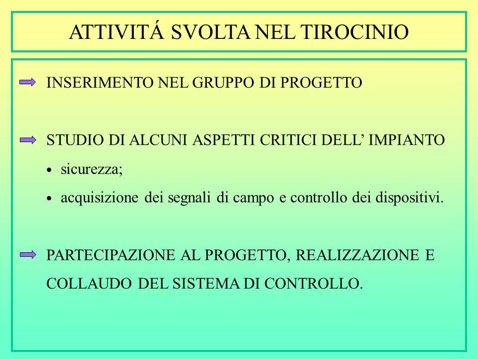 TIROCINIO SVOLTO PRESSO: TECNICA ELETTRONICA S.P.A. VIA SPALLANZANI, 26 - VERONA SI OCCUPA DI: PROGETTAZIONE, REALIZZAZIONE, INSTALLAZIONE E ASSISTENZ