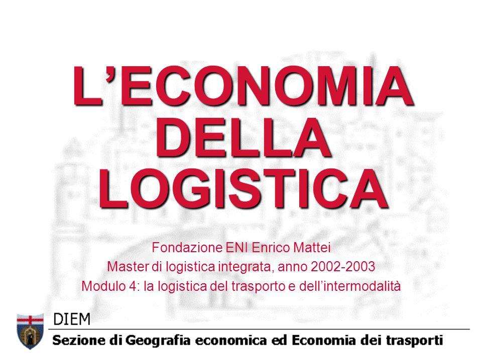 LECONOMIA DELLA LOGISTICA Fondazione ENI Enrico Mattei Master di logistica integrata, anno 2002-2003 Modulo 4: la logistica del trasporto e dellinterm