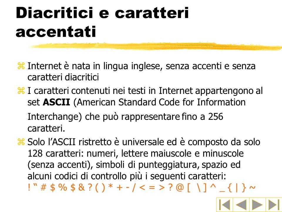 Diacritici e caratteri accentati zInternet è nata in lingua inglese, senza accenti e senza caratteri diacritici zI caratteri contenuti nei testi in In