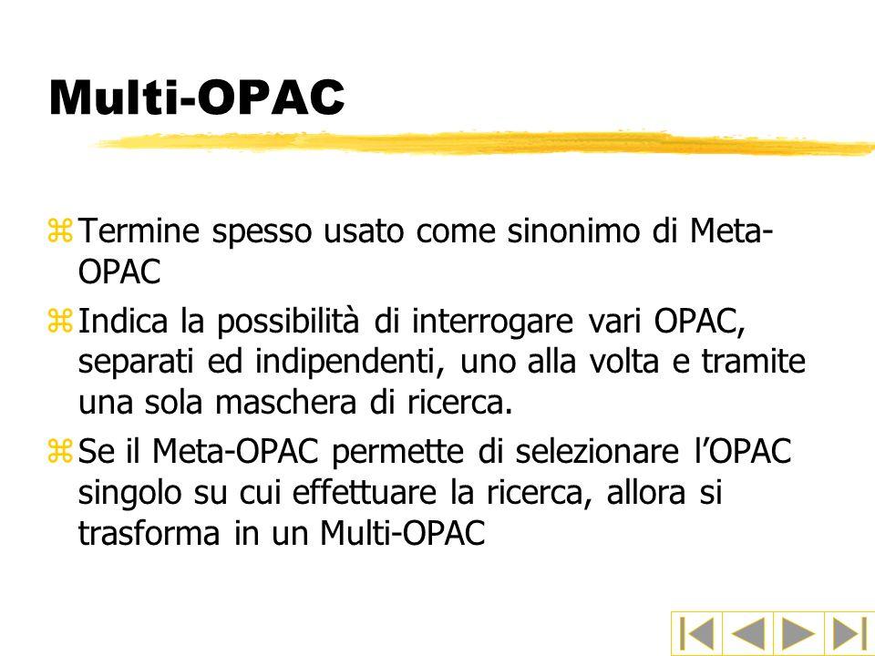 Multi-OPAC zTermine spesso usato come sinonimo di Meta- OPAC zIndica la possibilità di interrogare vari OPAC, separati ed indipendenti, uno alla volta
