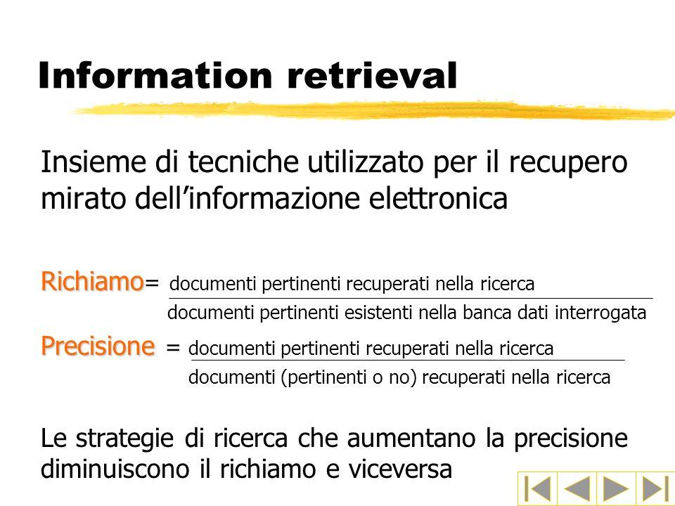 Information retrieval Insieme di tecniche utilizzato per il recupero mirato dellinformazione elettronica Richiamo Richiamo = documenti pertinenti recu