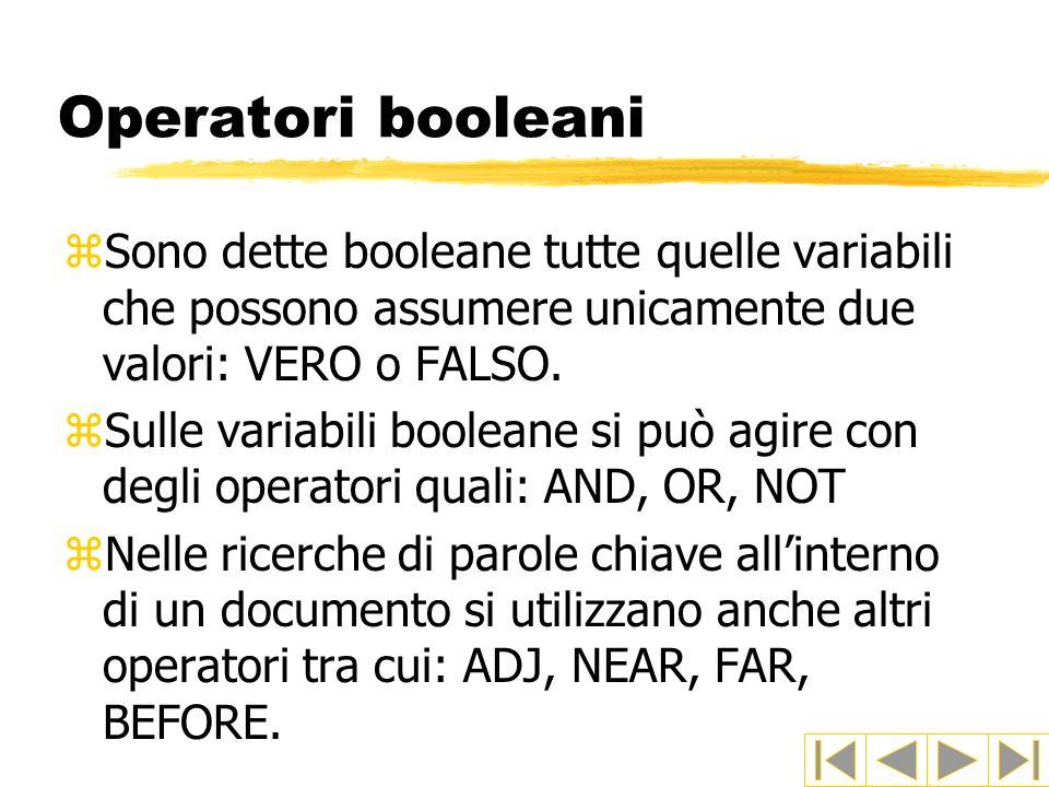 Operatori booleani: AND zX AND Y zX AND Y è vera quando sia X che Y sono vere, altrimenti è falsa zEsempi di ricerca: biblioteche AND Bologna restituirà tutti i documenti che contengono entrambe le parole.