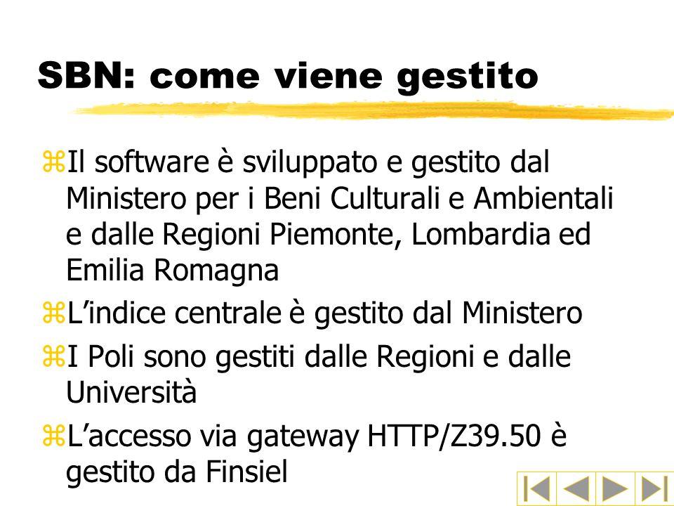 SBN: come viene gestito zIl software è sviluppato e gestito dal Ministero per i Beni Culturali e Ambientali e dalle Regioni Piemonte, Lombardia ed Emi