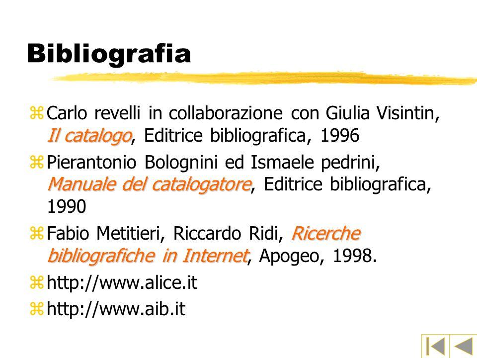 Bibliografia Il catalogo zCarlo revelli in collaborazione con Giulia Visintin, Il catalogo, Editrice bibliografica, 1996 Manuale del catalogatore zPie
