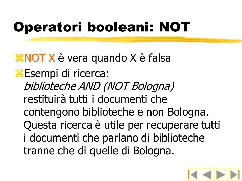 Operatori booleani: NOT zNOT X zNOT X è vera quando X è falsa zEsempi di ricerca: biblioteche AND (NOT Bologna) restituirà tutti i documenti che conte