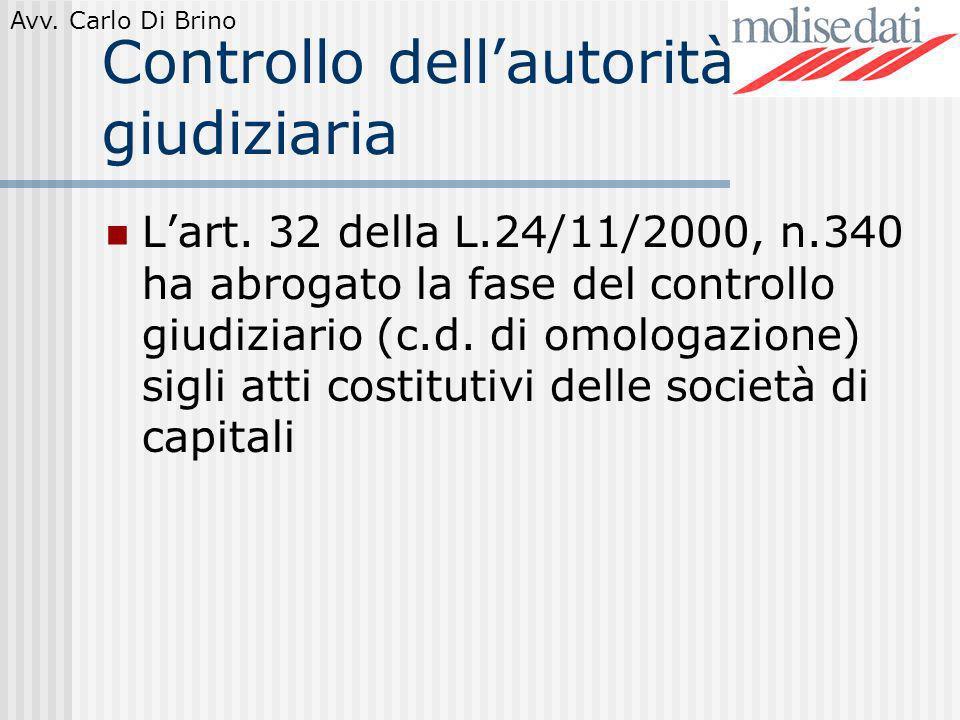 Avv. Carlo Di Brino Controllo dellautorità giudiziaria Lart. 32 della L.24/11/2000, n.340 ha abrogato la fase del controllo giudiziario (c.d. di omolo