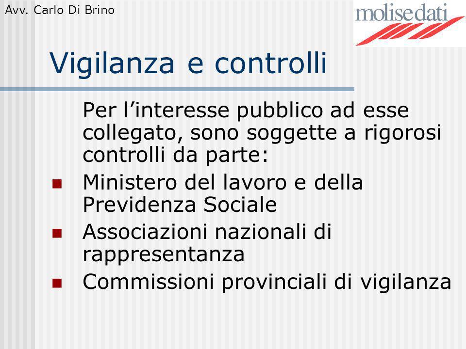 Avv. Carlo Di Brino Vigilanza e controlli Per linteresse pubblico ad esse collegato, sono soggette a rigorosi controlli da parte: Ministero del lavoro