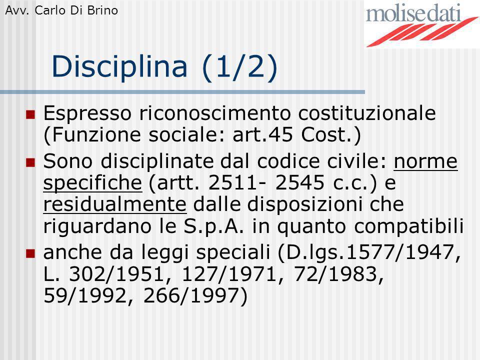 Avv. Carlo Di Brino Disciplina (1/2) Espresso riconoscimento costituzionale (Funzione sociale: art.45 Cost.) Sono disciplinate dal codice civile: norm