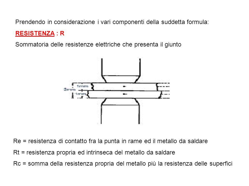 Q = calorie necessarie per ottenere la fusione dei due o più metalli che formeranno il giunto R = resistenza elettrica complessiva del giunto I = inte
