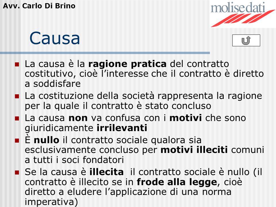 Avv. Carlo Di Brino Causa La causa è la ragione pratica del contratto costitutivo, cioè linteresse che il contratto è diretto a soddisfare La costituz
