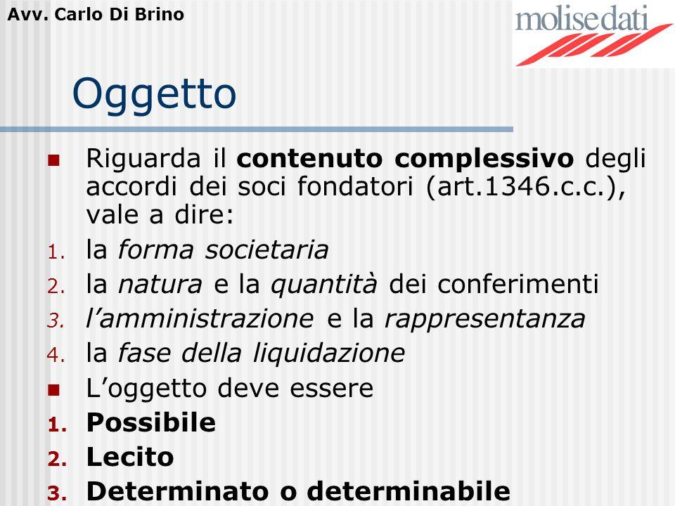 Avv. Carlo Di Brino Oggetto Riguarda il contenuto complessivo degli accordi dei soci fondatori (art.1346.c.c.), vale a dire: 1. la forma societaria 2.