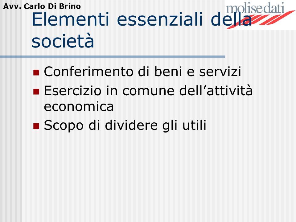 Avv. Carlo Di Brino Elementi essenziali della società Conferimento di beni e servizi Esercizio in comune dellattività economica Scopo di dividere gli