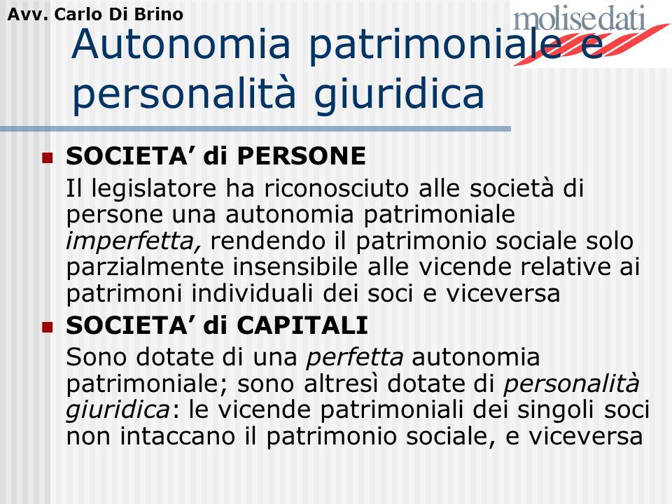 Avv. Carlo Di Brino Autonomia patrimoniale e personalità giuridica SOCIETA di PERSONE Il legislatore ha riconosciuto alle società di persone una auton