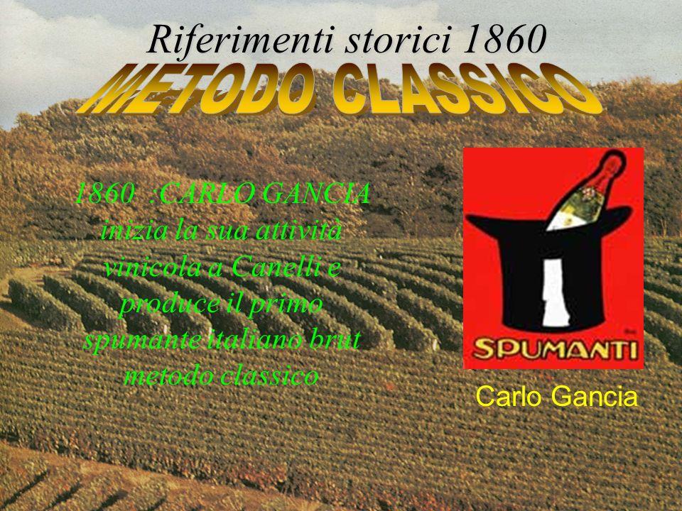 1860 :CARLO GANCIA inizia la sua attività vinicola a Canelli e produce il primo spumante italiano brut metodo classico Riferimenti storici 1860 Carlo