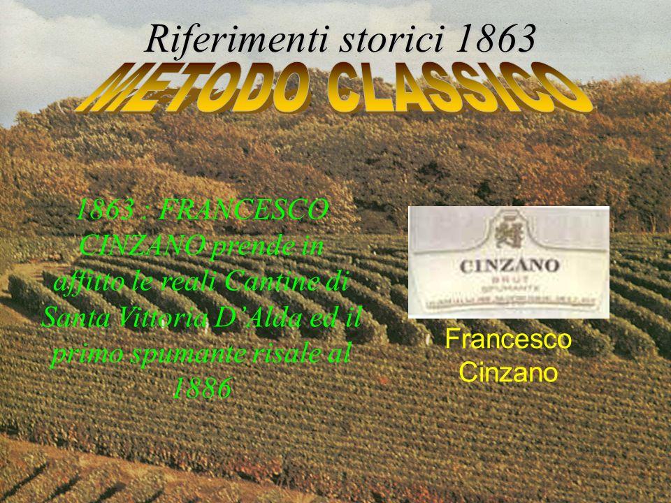 1863 : FRANCESCO CINZANO prende in affitto le reali Cantine di Santa Vittoria DAlda ed il primo spumante risale al 1886 Riferimenti storici 1863 Franc