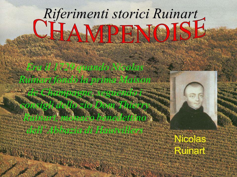 Risale quindi al 1729 la prima vendita dello Champagne Ruinart, come è scritto nella prima pagina del libro dei conti di questa impresa dove si legge testualmente: Nel nome di Dio e della Vergine abbia inizio il presente libro Riferimenti storici Ruinart