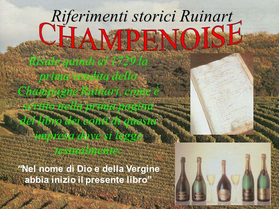 Risale quindi al 1729 la prima vendita dello Champagne Ruinart, come è scritto nella prima pagina del libro dei conti di questa impresa dove si legge