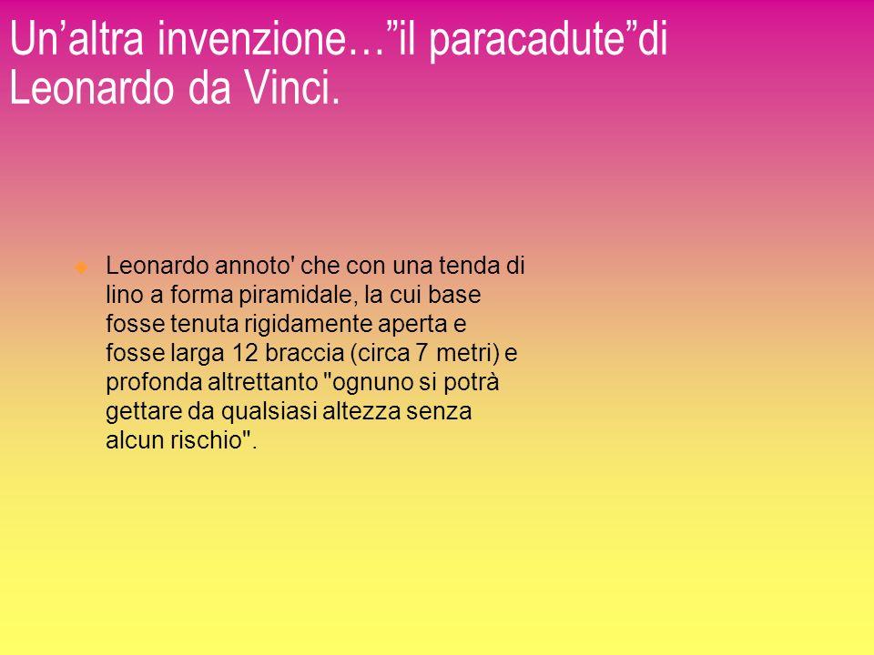 Unaltra invenzione…il paracadutedi Leonardo da Vinci. Leonardo annoto' che con una tenda di lino a forma piramidale, la cui base fosse tenuta rigidame