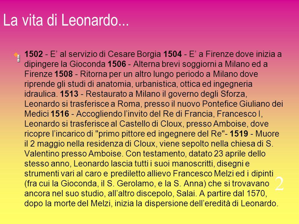 La vita di Leonardo... 1502 - E al servizio di Cesare Borgia 1504 - E a Firenze dove inizia a dipingere la Gioconda 1506 - Alterna brevi soggiorni a M