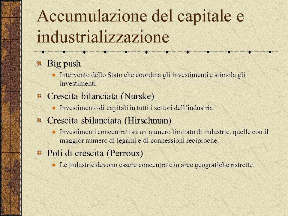 Accumulazione del capitale e industrializzazione Rostow Lo sviluppo è un processo lineare che segue un percorso pressoché identico in ogni società. Pe