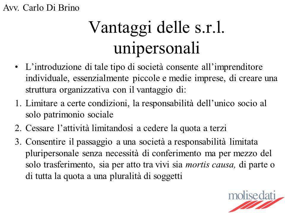 Avv.Carlo Di Brino Vantaggi delle s.r.l.