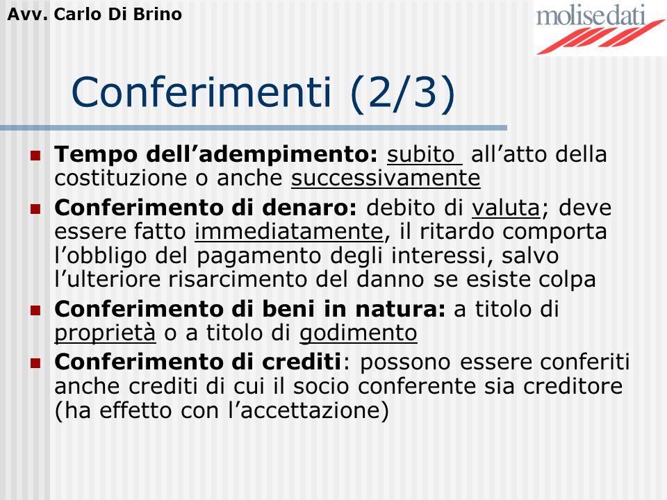 Avv. Carlo Di Brino Conferimenti (2/3) Tempo delladempimento: subito allatto della costituzione o anche successivamente Conferimento di denaro: debito
