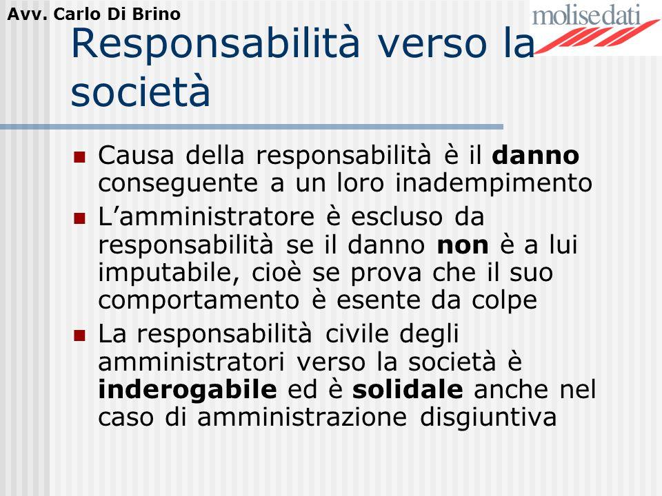 Avv. Carlo Di Brino Responsabilità verso la società Causa della responsabilità è il danno conseguente a un loro inadempimento Lamministratore è esclus