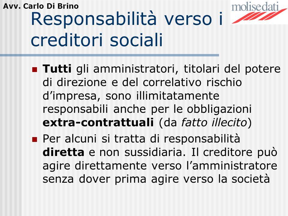 Avv. Carlo Di Brino Responsabilità verso i creditori sociali Tutti gli amministratori, titolari del potere di direzione e del correlativo rischio dimp