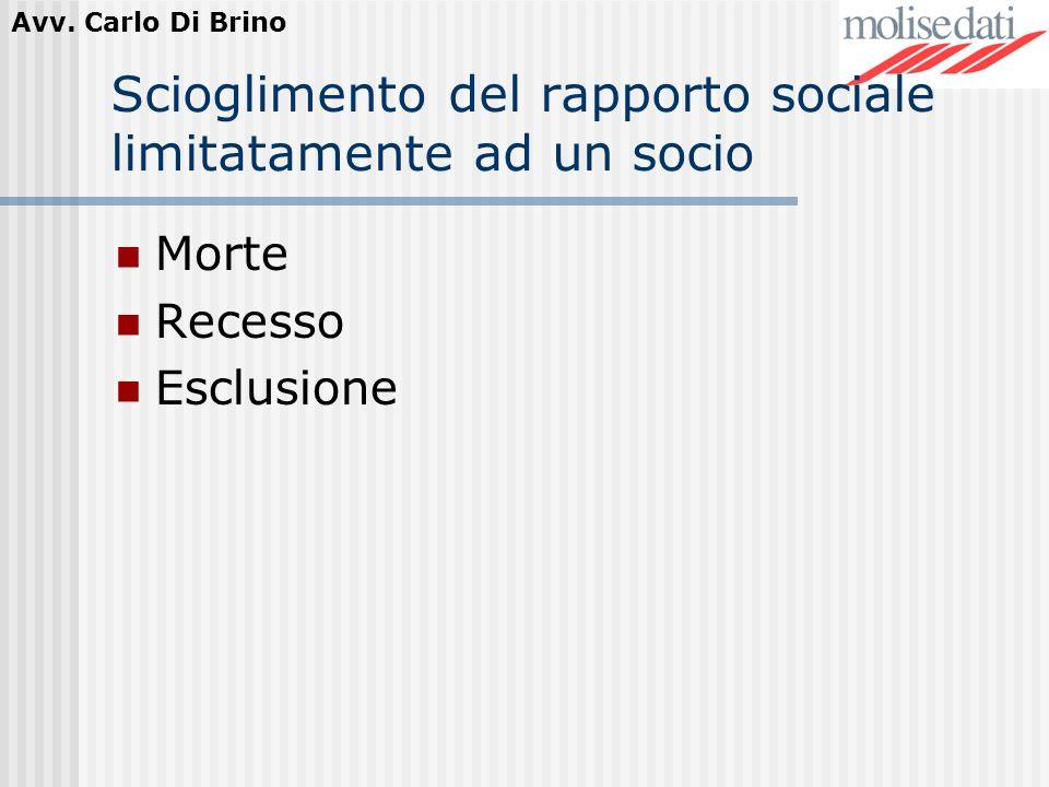 Avv. Carlo Di Brino Scioglimento del rapporto sociale limitatamente ad un socio Morte Recesso Esclusione