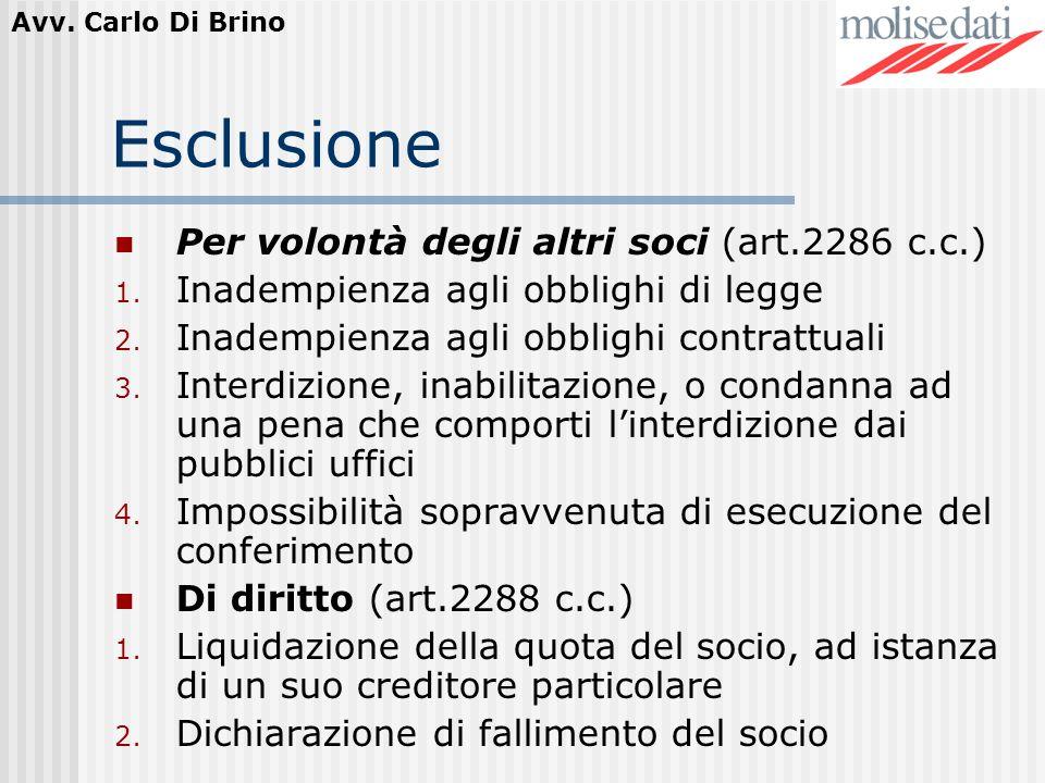 Avv. Carlo Di Brino Esclusione Per volontà degli altri soci (art.2286 c.c.) 1. Inadempienza agli obblighi di legge 2. Inadempienza agli obblighi contr