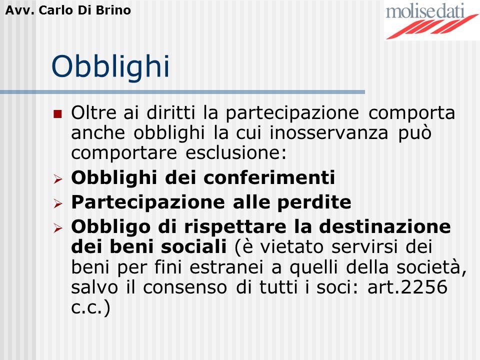 Avv. Carlo Di Brino Obblighi Oltre ai diritti la partecipazione comporta anche obblighi la cui inosservanza può comportare esclusione: Obblighi dei co