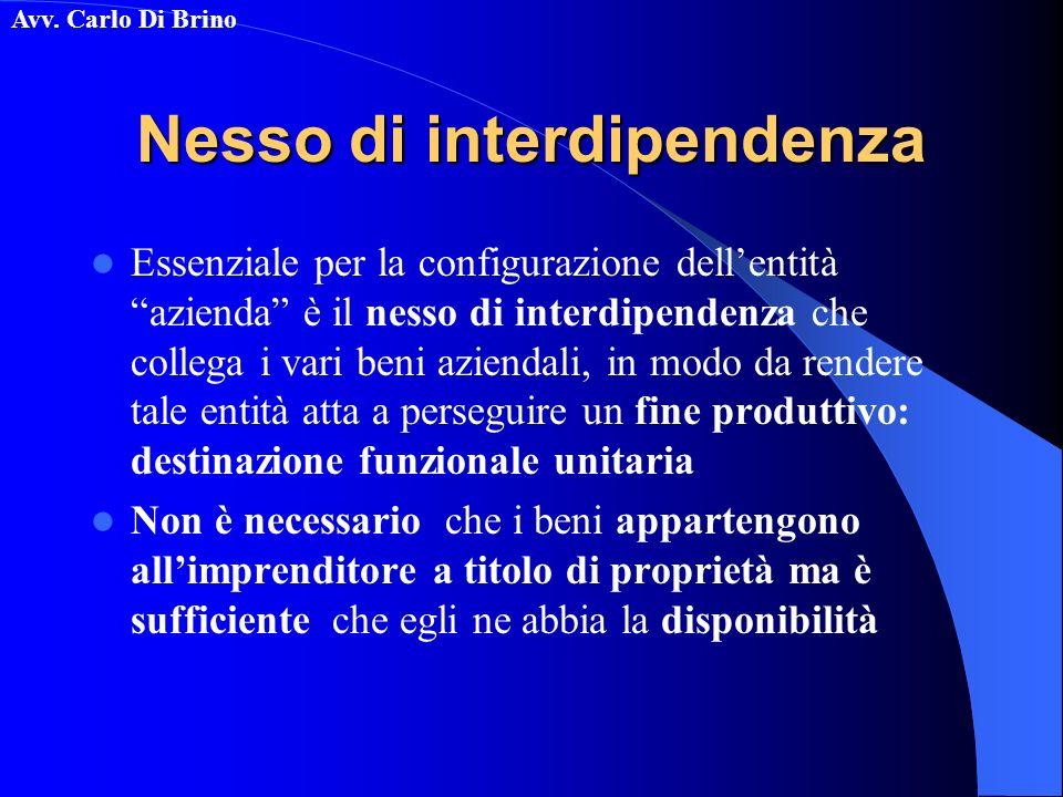 Avv. Carlo Di Brino Nesso di interdipendenza Essenziale per la configurazione dellentità azienda è il nesso di interdipendenza che collega i vari beni
