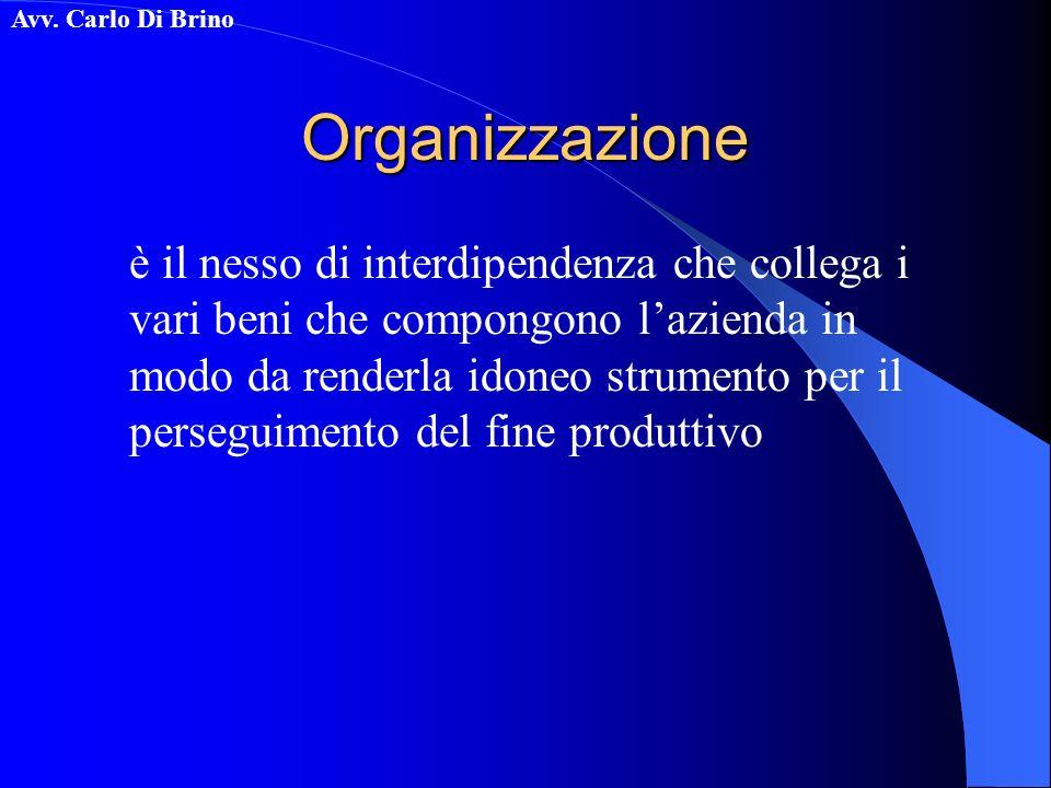 Avv. Carlo Di BrinoOrganizzazione è il nesso di interdipendenza che collega i vari beni che compongono lazienda in modo da renderla idoneo strumento p