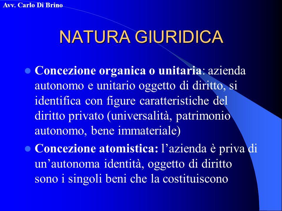 Avv. Carlo Di Brino NATURA GIURIDICA Concezione organica o unitaria: azienda autonomo e unitario oggetto di diritto, si identifica con figure caratter