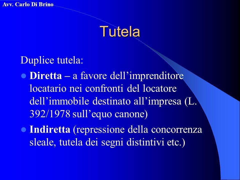 Avv. Carlo Di BrinoTutela Duplice tutela: Diretta – a favore dellimprenditore locatario nei confronti del locatore dellimmobile destinato allimpresa (