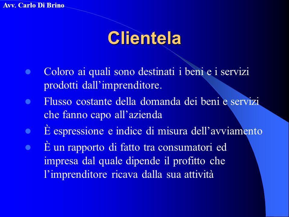 Avv. Carlo Di BrinoClientela Coloro ai quali sono destinati i beni e i servizi prodotti dallimprenditore. Flusso costante della domanda dei beni e ser