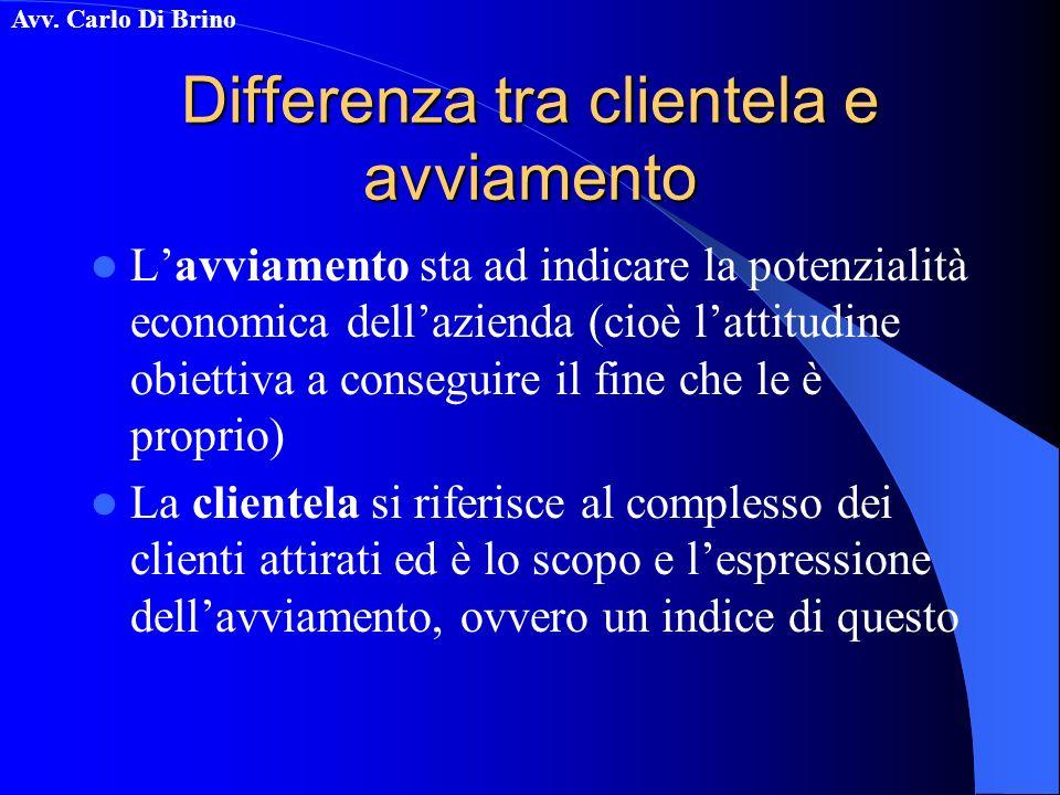 Avv. Carlo Di Brino Differenza tra clientela e avviamento Lavviamento sta ad indicare la potenzialità economica dellazienda (cioè lattitudine obiettiv