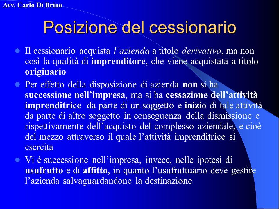 Avv. Carlo Di Brino Posizione del cessionario Il cessionario acquista lazienda a titolo derivativo, ma non così la qualità di imprenditore, che viene