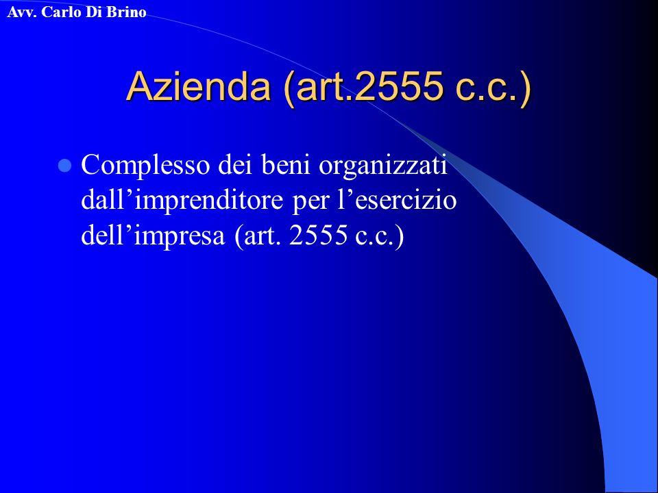 Avv. Carlo Di Brino Azienda (art.2555 c.c.) Complesso dei beni organizzati dallimprenditore per lesercizio dellimpresa (art. 2555 c.c.)