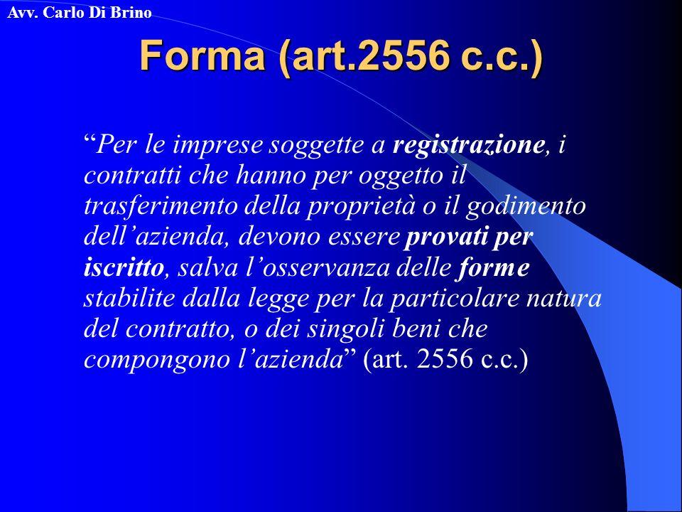 Avv. Carlo Di Brino Forma (art.2556 c.c.) Per le imprese soggette a registrazione, i contratti che hanno per oggetto il trasferimento della proprietà