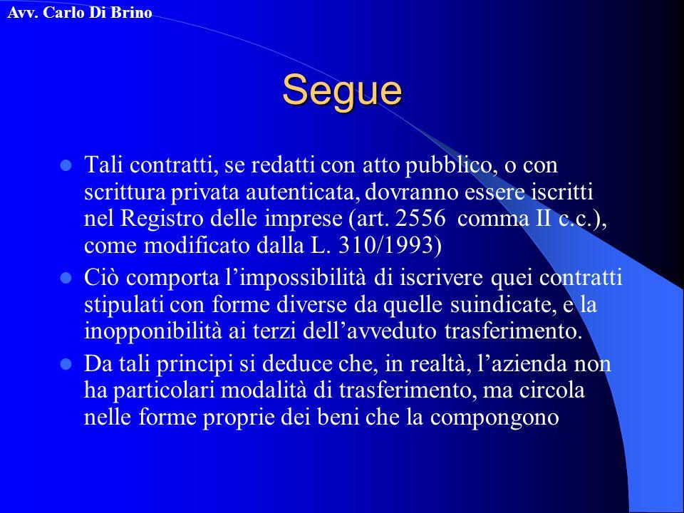Avv. Carlo Di BrinoSegue Tali contratti, se redatti con atto pubblico, o con scrittura privata autenticata, dovranno essere iscritti nel Registro dell