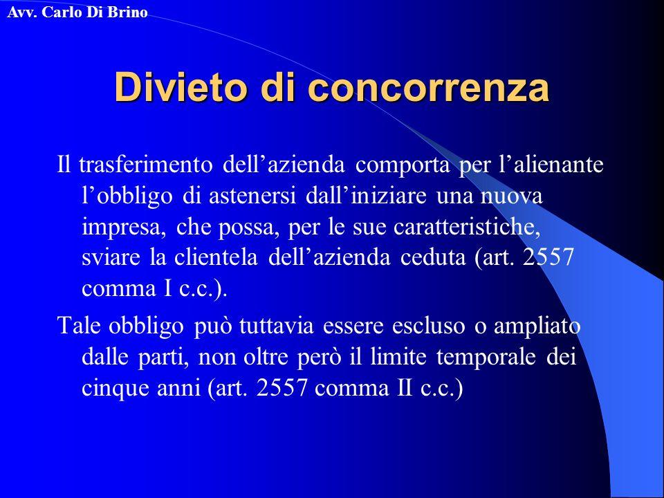 Avv. Carlo Di Brino Divieto di concorrenza Il trasferimento dellazienda comporta per lalienante lobbligo di astenersi dalliniziare una nuova impresa,
