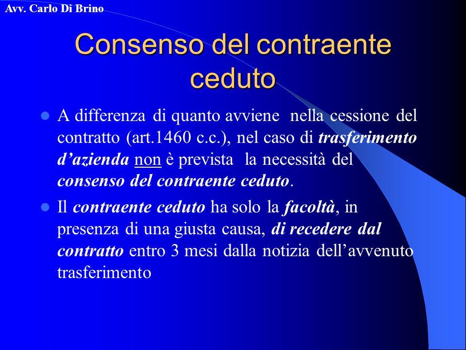 Avv. Carlo Di Brino Consenso del contraente ceduto A differenza di quanto avviene nella cessione del contratto (art.1460 c.c.), nel caso di trasferime