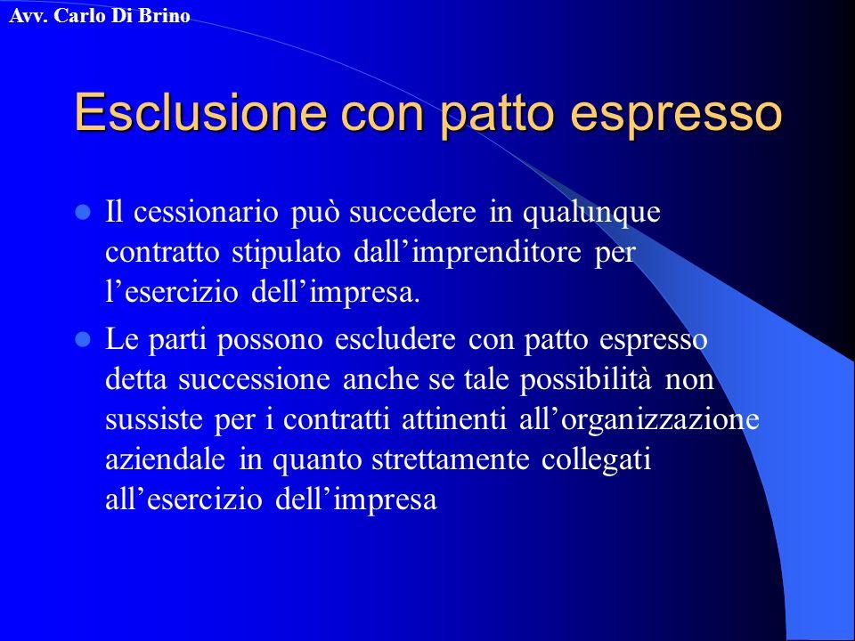 Avv. Carlo Di Brino Esclusione con patto espresso Il cessionario può succedere in qualunque contratto stipulato dallimprenditore per lesercizio dellim