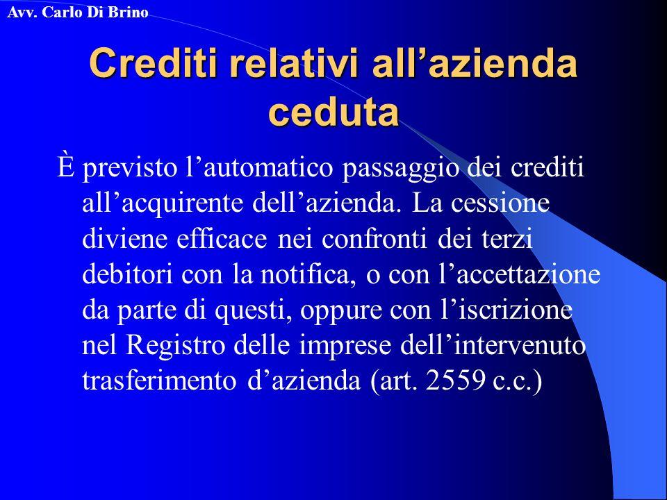 Avv. Carlo Di Brino Crediti relativi allazienda ceduta È previsto lautomatico passaggio dei crediti allacquirente dellazienda. La cessione diviene eff