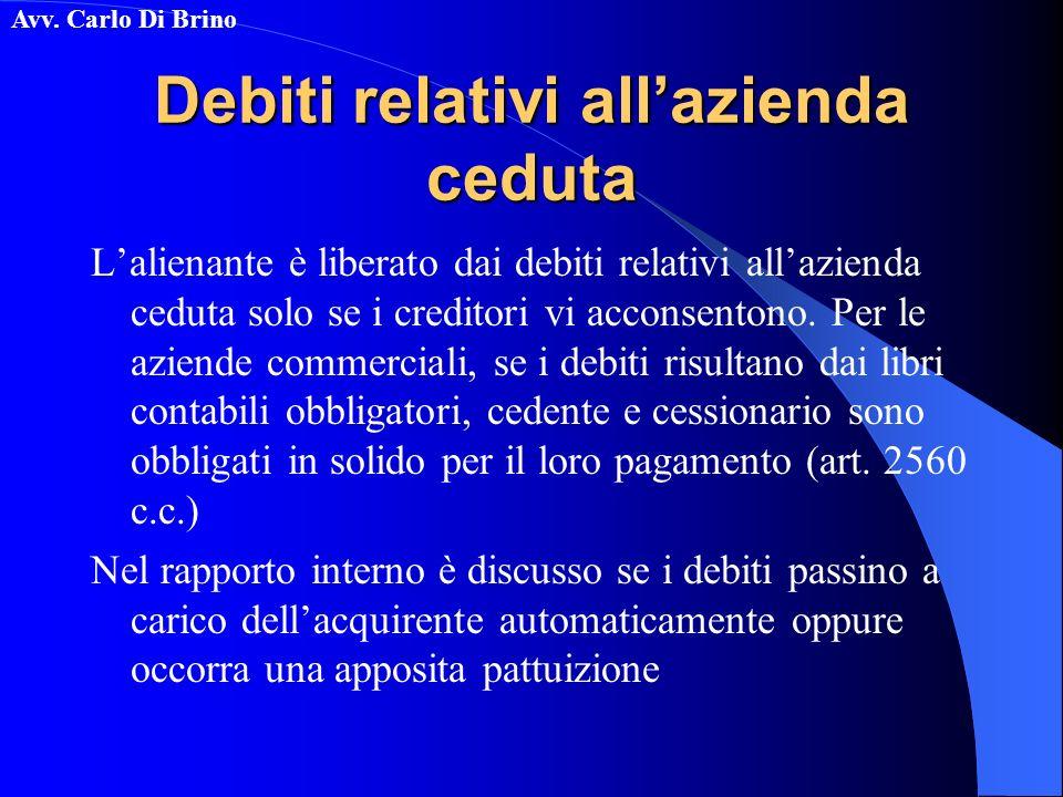 Avv. Carlo Di Brino Debiti relativi allazienda ceduta Lalienante è liberato dai debiti relativi allazienda ceduta solo se i creditori vi acconsentono.