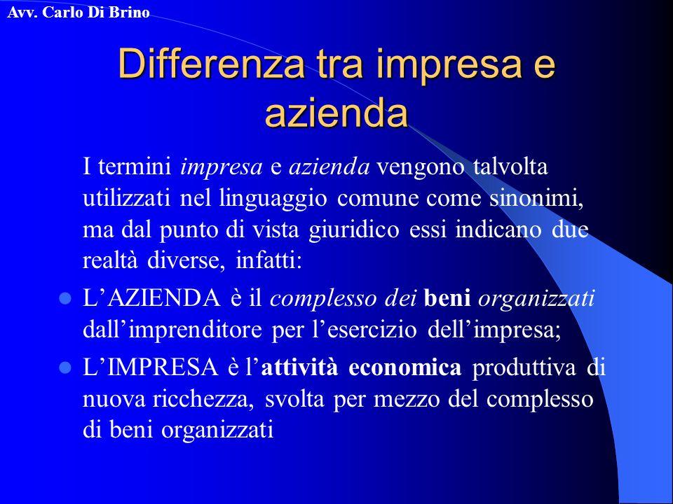Avv. Carlo Di Brino Differenza tra impresa e azienda I termini impresa e azienda vengono talvolta utilizzati nel linguaggio comune come sinonimi, ma d